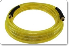 Flexeel 30metre x ¼ ID Air Hose with Reusable Strain Relief Fittings. Transparent Yellow. PFE41004TY
